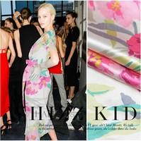 100%silk crepe satin plain fashion rose digital print silk cloth 16momme party dress DIY