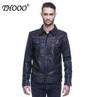 THOOO Brand New arrival Hotselling Fashion men's faux leather supper cool jacket MEN'S BLACK BROWN PU LEATHER OEM COAT