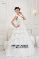 2014 one shoulder strap wedding qi formal dress embroidered lace  princess sweet slim dresses