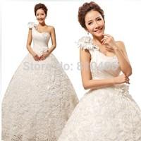 2014 new Bride shoulder strap wedding dress one shoulder paillette bandage lacing bridal gown ball gown vestido de noiva