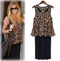 2014 new fashion dress women leopard print two piece dresses Mid-Calf Casual dress Bohemian dress Plus size Free shipping