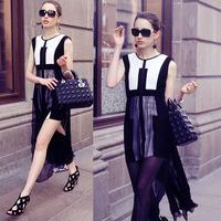 2014 summer WOMEN DRESS new European style stitching Slim was thin dress in chiffon dress factory direct supply
