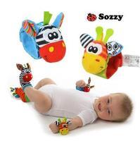 Free shipping, NEW STYLE (4pcs=2 pcs waist+2 pcs socks)/lot,baby rattle toys Sozzy Garden Bug Wrist Rattle and Foot Socks HA0003