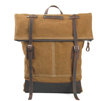 3 colors special vintage style high quality brand canvas genuine leather backpack women schoo bags men travel bags MC8004