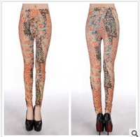 Spring autumn 2014 New Fashion Pants Women 's milk silk flower leggings For WomenOrange middle print leggings plus size