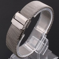 20mm Unisex Mesh Steel Watch Band Strap Bracelet Safety Buckle Silver Hot