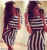 2014 New arrival Fashion striped Casual dress, Sexy woman Summer dress, Mini dress Size S-XL Wholesale Free Shipping