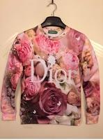 2015 New Women FLOWER PINK ROSE print exclusive iswag 3D printing Brand 3D Sweatshirts Hoodies jacket ISWAG Tops