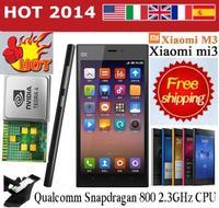 Original Xiaomi Mi3 M3 Qualcomm Quad Core Mobile Phones 2GB RAM 64GB ROM 5 inch 1080p 13MP WCDMA GPS Android 4.4 MIUI 6
