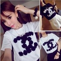 2014 new Summer t shirt female t short-sleeve T-shirt 100% letter cotton top classic small petals t shirt free shipping