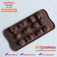 Free Shipping Brand New Set of 2 Food Grade Silicone Chocolate Mould Cake Cookie Molds Cute Animals