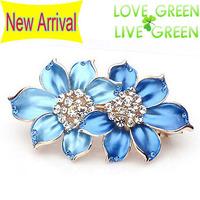 2014 new arrrival Free Shipping women wedding bridal blue pink  flower rhinestones Hair jewelry Headress hairpin barrettes 2004