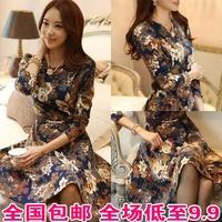 With Belts! S-XXL 2014 spring Women Dress o-neck quality fancy basic dress slim long-sleeve dress S-XXL free shipping