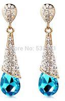 Newest stylish  2014 top sales fashion women party favors jewelry earrings, blingbling crystal water drop long earrings women