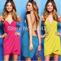 hot sell summer 2014 fashion women sexy Pajama nightgown Sling bath towels Candy colors beach bath dress dressing gown sleepwear