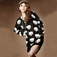 Free shipping!Summer 2014 new fashion women's round neck long section of skull print loose summer dress 2014