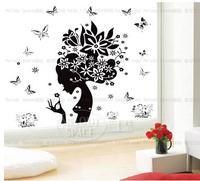 Girl hair butterfly Flower Home Wall Sticker Mural Vinyl Decal