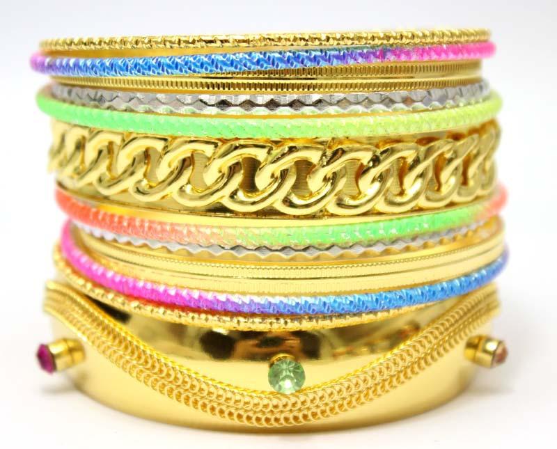 Wide Gold Plated Rhinestone Multi Layers Fashion Bracelet Set Mixed Neon Metal Bangles. Wholeasle Indian Jewelry(China (Mainland))