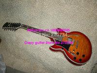 Wholesale - Free shipping   Left Handed 12 Strings Vintage Sunburst Jazz Guitar Wholesale Musical instruments
