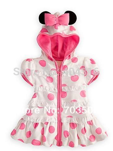 Bebê venda quente verão 2014 minnie mouse roupa com capuz menina vestidos rosa polka dot vestido do bebê desgaste das crianças, frete grátis!(China (Mainland))