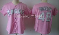 Free Shipping Baseball Torii Hunter #48 Women's Jersey Cheap Los Angeles Angels pink shirts Best Quality