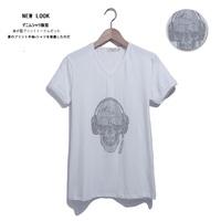 New mens Tee Summer new  fashion personality wild  short sleeve T-shirt  short-sleeve trend Skull  White free shipping