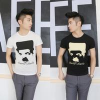 New mens Tee Summer  head printed short T-shirt Slim    T  Black | White free shipping