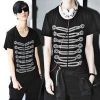 New mens Tee T hot summer new  Fashion Slim  cotton short T-shirt  black free shipping
