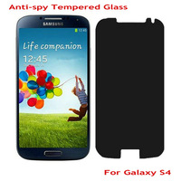 2014 New 2.5D 0.3mm Anti Spy Tempered Glass Screen Protector for Samsung Galaxy S4 Privacy Protective Film With Retail Package