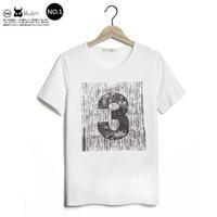 New mens Tee No. T Japanese pattern printing Slim round neck short sleeve cotton T-shirt  TEE  White free shipping