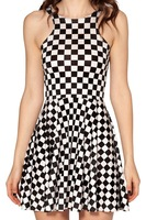 New 2014 sundress INDY CHECK pleated printed black white plaid dress Dresses for women 6100614