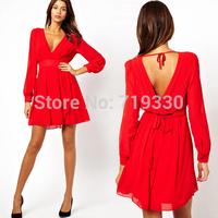 European Brand New Fashion Women Deep V Chiffon Dress Ladies Sexy & Club & Party Dress Plus Size Vestidos Free Shipping
