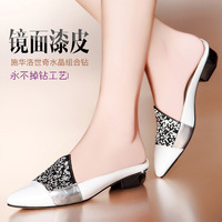 Women's shoes genuine leather low-heeled pointed toe diamond-studded women's slippers fashion flat princess single shoes