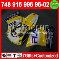 Yellow white 7gift For DUCATI  96-02 748 916 996 998 1996 1997 1998  2000 Yellow blue 2001 2002 5C90 96 97 98 99 00 01 02 Fairin