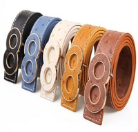 New Good-quality Belt artificial Manmade Leather Belts Dress Fashion Buckle Belt For Women Men Blue White Black Coffee x 5pcs