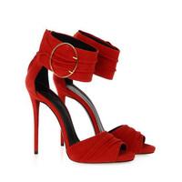 Brand Fashion Women Pumps Designer High Heels Women Genuine Leather Shoes Gladiator Sandals Ankle Strap Summer Shoes Woman