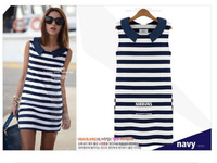 promotion! 2014 fashion women summer skinny dress stripped cute sleeveless dresses free shipping