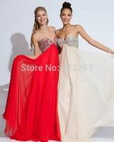 Free Shipping Popular Beaded Sweetheart Chiffon Long Red Prom Dresses Empire Waistline LK127