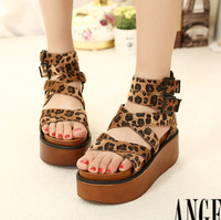 Free Shipping Hot Sale Fashion gladiator leopard print open toe platform wedges sandals