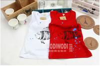 wholesales 2014 summer new arrival Children cotton top baby girl boy goldfish lovely sleeveless clothing kid T-shirt  5pcs/lot