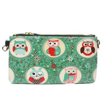 Зеленый сова старинных день натуральная кожа сумка сцепления многофункциональный небольшой цепь сцепления маленькая сумка
