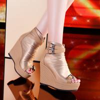 2014 spring platform high-heeled shoes open toe sandals platform pack women's wedges shoes