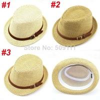 Kids sunhats children straw fedora hat Boys Summer beach caps Beach hat Kids cap Free shipping 10pcs BH165