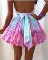 2014 free shipping new fashion pactch color women summer maxi skirt fashion tutu  skater skirt