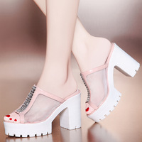 2014 fashion sexy high-heeled shoes thick heels platform gauze ol slippers