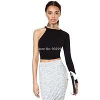 Asymmetrical one shoulder single black long-sleeve knitted elastic slim close-fitting shirt basic t-shirt haoduoyi