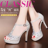 Classic buckle girl T rhinestone open toe platform shoe ultra high heels female sandals cutout ol