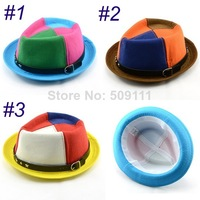 Boy's fedora hat Child cotton cowboy cap Spring Dicer Trilby hat with rivet and belt Kids Jazz Caps 10pcs/lot BH012