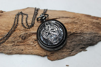Beautiful watch black wings Dragon black pocket watch harry potter, time turner necklace locket chain sale