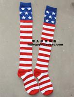 2014 Coletes Infantis Casacos Femininos The American Flag Stripe Pentagram Stockings Movement Hip-hop Jazz Dance Knee-high Socks